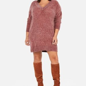 Express Large V Neck shift sweater dress